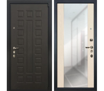 Входная стальная дверь Лекс 4А Неаполь Mottura Стиль с Зеркалом Дуб беленый (панель №45)