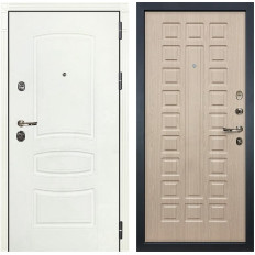 Входная дверь Лекс Сенатор 3К Шагрень белая / Дуб беленый (панель №20)