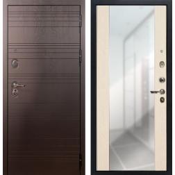Входная стальная дверь Лекс Легион 3К Стиль с Зеркалом Дуб беленый (панель №45)