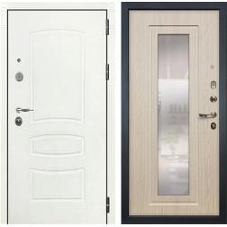 Входная стальная дверь Лекс Легион 3К с Зеркалом Шагрень белая / Дуб беленый (панель №23)