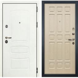 Входная дверь Лекс Сенатор 3К Шагрень белая / Дуб беленый (панель №28)