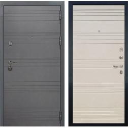 Входная дверь Лекс Сенатор 3К Софт графит / Дуб фактурный кремовый (панель №63)