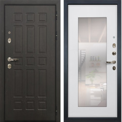 Входная металлическая дверь Лекс Сенатор 8 с Зеркалом Ясень белый (панель №37)