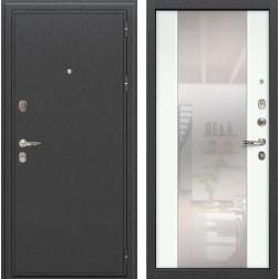 Входная стальная дверь Лекс Колизей Стиль с Зеркалом Ясень белый (панель №61)