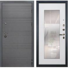 Входная дверь Лекс Сенатор 3К Софт графит / Ясень белый с Зеркалом (панель №37)