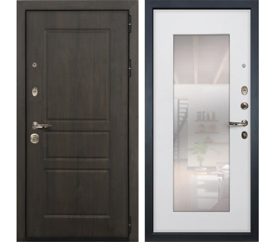Входная стальная дверь Лекс Сенатор Винорит с Зеркалом Ясень белый (панель №37)