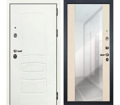 Входная металлическая дверь Лекс Сенатор 3К Шагрень белая / Дуб беленый Стиль с зеркалом (панель №45)