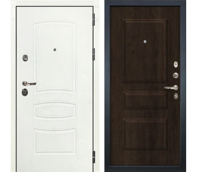 Входная металлическая дверь Сенатор 3К Шагрень белая / Алмон 28 (панель №60)