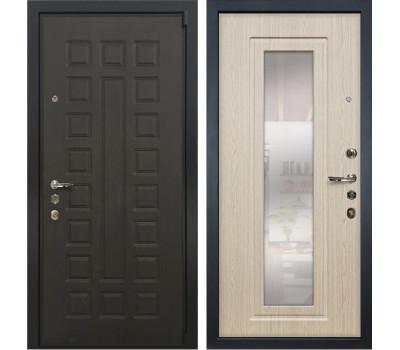 Входная стальная дверь Лекс 4А Неаполь Mottura с Зеркалом Дуб беленый (панель №23)
