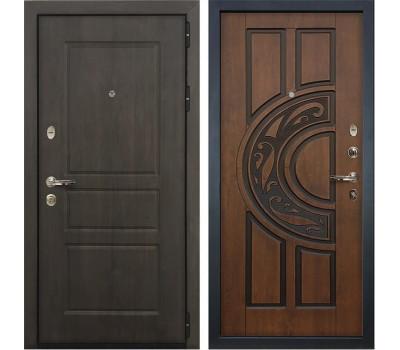Входная стальная дверь Лекс Сенатор Винорит Голден патина черная (панель №27)