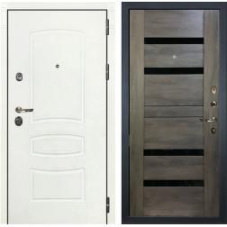 Входная дверь Лекс Сенатор 3К Шагрень белая / Неро Графит шале (панель №65)