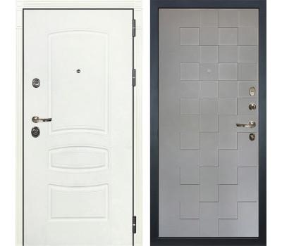 Входная металлическая дверь Лекс Сенатор 3К Шагрень белая / Графит софт Квадро (панель №72)