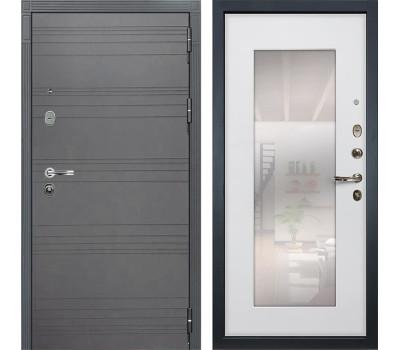 Входная стальная дверь Лекс Легион 3К с Зеркалом Софт графит / Ясень белый (панель №37)