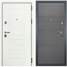 Входная дверь Лекс Сенатор 3К Шагрень белая / Графит софт (панель №70)