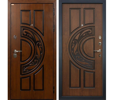 Входная стальная дверь Лекс Спартак Cisa Винорит Голден патина черная (панель №27)