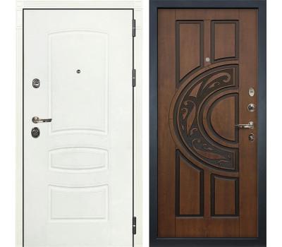 Входная металлическая дверь Лекс Сенатор 3К Шагрень белая / Голден патина черная (панель №27)