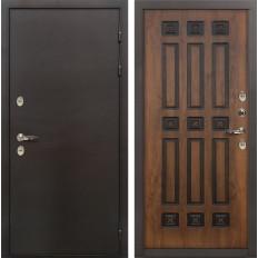 Входная дверь с терморазрывом Лекс Термо Сибирь 3К Винорит Голден патина черная (панель №33)
