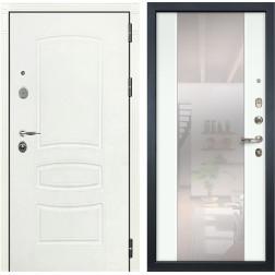Входная стальная дверь Лекс Легион 3К Стиль с Зеркалом Шагрень белая / Ясень белый (панель №61)