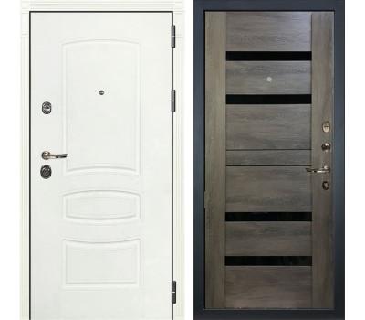 Входная металлическая дверь Лекс Сенатор 3К Шагрень белая / Неро Графит шале (панель №65)