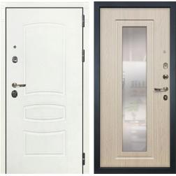 Входная дверь Лекс Сенатор 3К Шагрень белая / Дуб беленый с Зеркалом (панель №23)