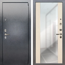 Входная стальная дверь Лекс 3 Барк Стиль с Зеркалом (Серый букле / Дуб беленый) панель №45