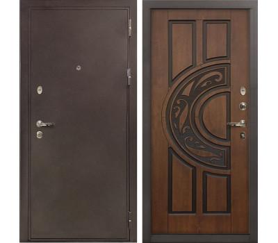 Входная стальная дверь Лекс 5А Цезарь Винорит Голден патина черная (панель №27)