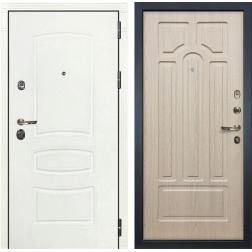 Входная дверь Лекс Сенатор 3К Шагрень белая / Дуб беленый (панель №25)