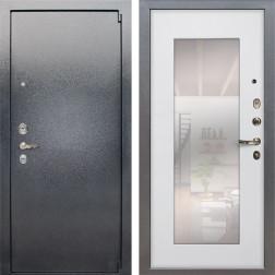 Входная стальная дверь Лекс 3 Барк с Зеркалом (Серый букле / Ясень белый) панель №37
