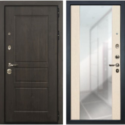 Входная дверь Лекс Сенатор Винорит Стиль с Зеркалом Дуб беленый (панель №45)