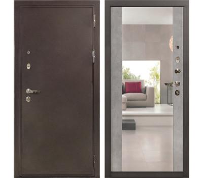 Входная стальная дверь Лекс 5А Цезарь Стиль с Зеркалом Бетон серый (панель №102)
