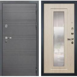 Входная стальная дверь Лекс Легион 3К с Зеркалом Софт графит / Дуб беленый (панель №23)
