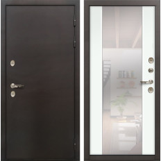 Входная дверь с терморазрывом Лекс Термо Сибирь 3К Стиль с зеркалом Ясень белый (панель №61)