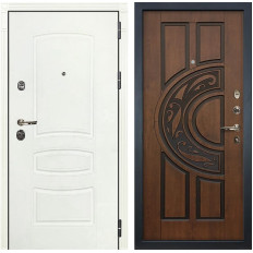Входная дверь Лекс Сенатор 3К Шагрень белая / Голден патина черная (панель №27)