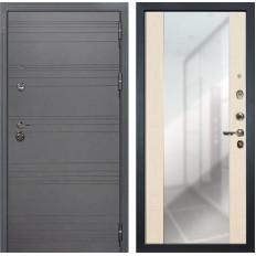 Входная дверь Лекс Сенатор 3К Софт графит / Дуб беленый Стиль с зеркалом (панель №45)