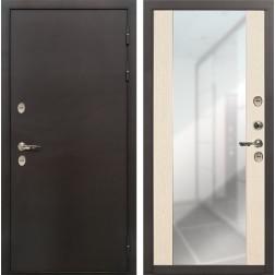 Входная дверь с терморазрывом Лекс Термо Сибирь 3К Стиль с зеркалом Дуб беленый (панель №45)
