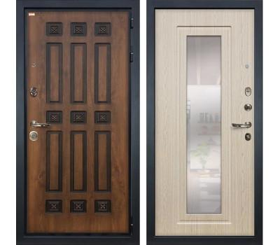 Входная металлическая дверь Лекс Гладиатор 3К Винорит с Зеркалом Дуб беленый (панель №23)
