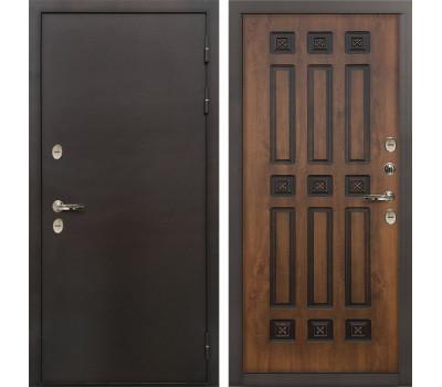 Входная уличная дверь с терморазрывом Лекс Термо Сибирь 3К Винорит Голден патина черная (панель №33)
