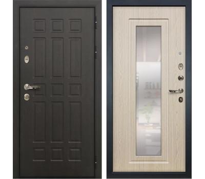 Входная металлическая дверь Лекс Сенатор 8 с Зеркалом Дуб беленый (панель №23)