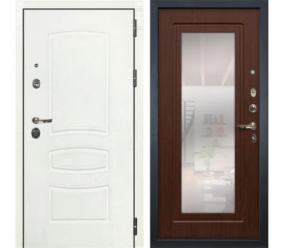 Входная металлическая дверь Лекс Сенатор 3К Шагрень белая / Береза мореная с Зеркалом (панель №30)