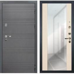 Входная стальная дверь Лекс Легион 3К Стиль с Зеркалом Софт графит / Дуб беленый (панель №45)