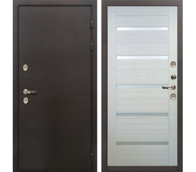 Входная уличная дверь с терморазрывом Лекс Термо Сибирь 3К Клеопатра-2 Дуб беленый (панель №58)