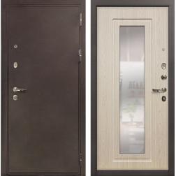 Входная стальная дверь Лекс 5А Цезарь с Зеркалом Дуб беленый (панель №23)