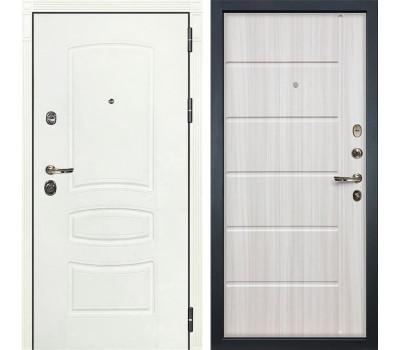 Входная металлическая дверь Лекс Сенатор 3К Шагрень белая / Сандал белый (панель №42)