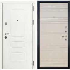 Входная дверь Лекс Легион 3К Шагрень белая / Дуб фактурный кремовый (панель №63)