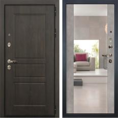 Входная дверь Лекс Сенатор Винорит Стиль с Зеркалом Бетон серый (панель №102)