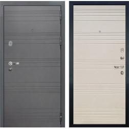 Входная стальная дверь Лекс Легион 3К Софт графит / Дуб фактурный кремовый (панель №63)