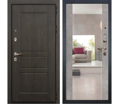 Входная стальная дверь Лекс Сенатор Винорит Стиль с Зеркалом Бетон серый (панель №102)