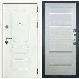 Входная стальная дверь Лекс Легион 3К Шагрень белая / Клеопатра-2 Дуб беленый (панель №58)