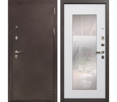 Входная стальная дверь Лекс 5А Цезарь с Зеркалом Ясень белый (панель №37)