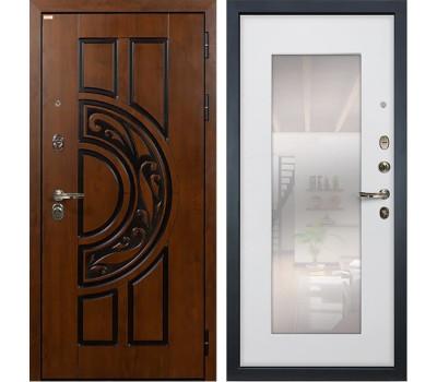 Входная стальная дверь Лекс Спартак Cisa с Зеркалом Ясень белый (панель №37)